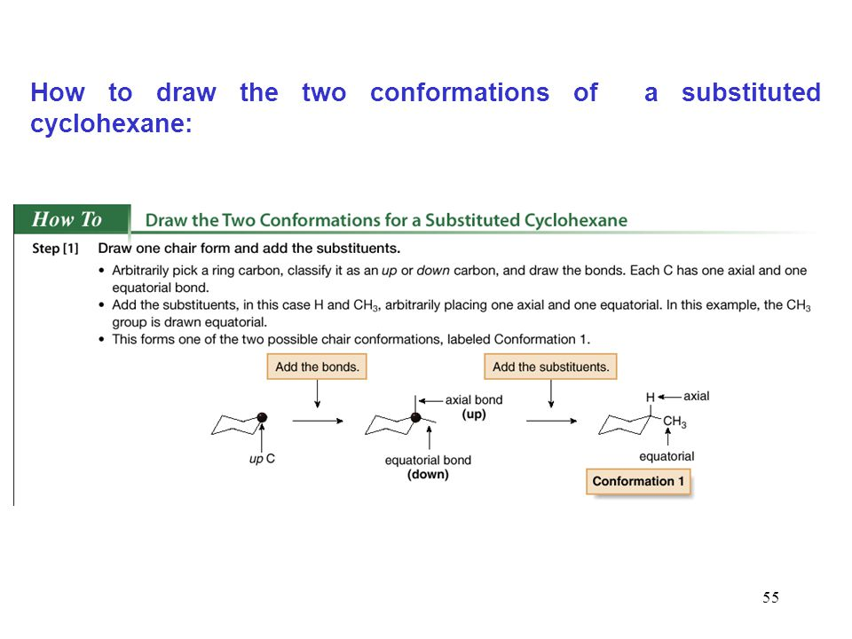 55 How to draw the two conformations of a substituted cyclohexane: