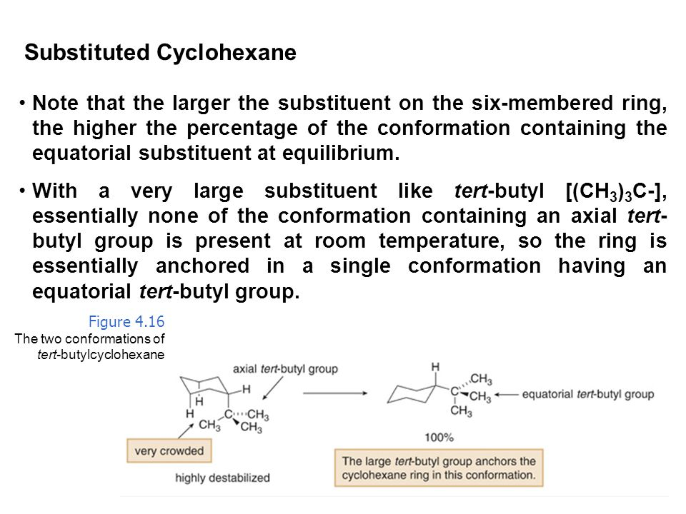 59 Substituted Cyclohexane Note that the larger the substituent on the six-membered ring, the higher the percentage of the conformation containing the equatorial substituent at equilibrium.