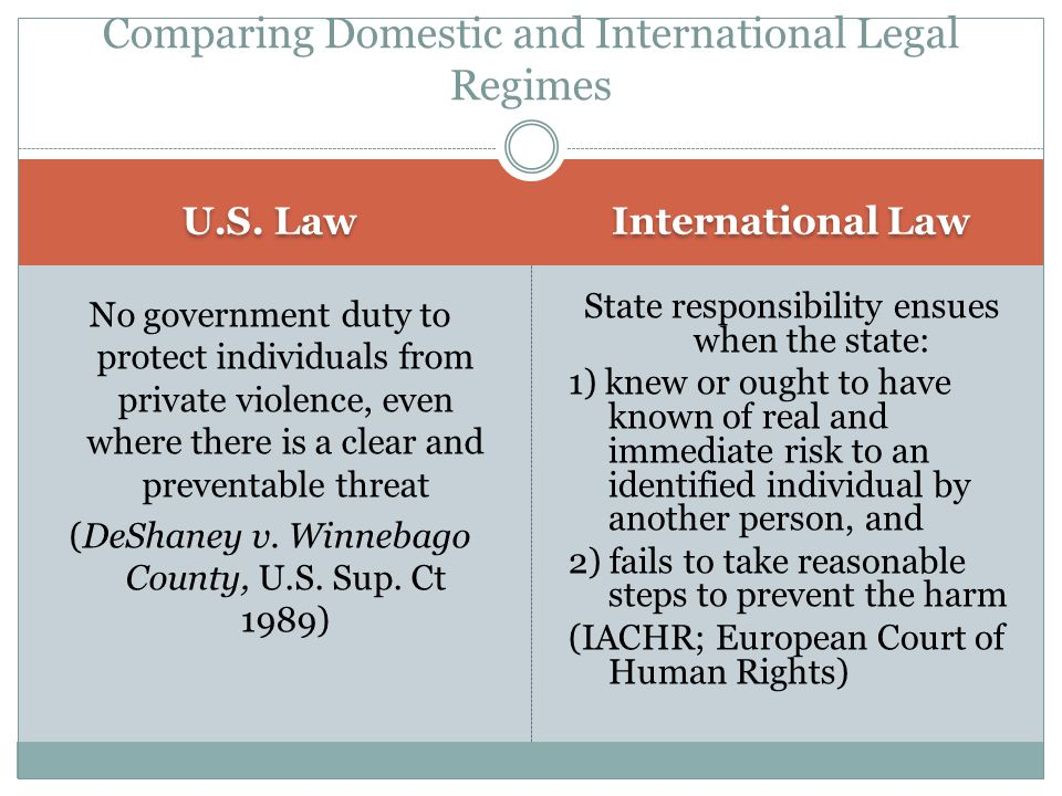U.S. Law International Law No government duty to protect individuals from private violence, even where there is a clear and preventable threat (DeShan
