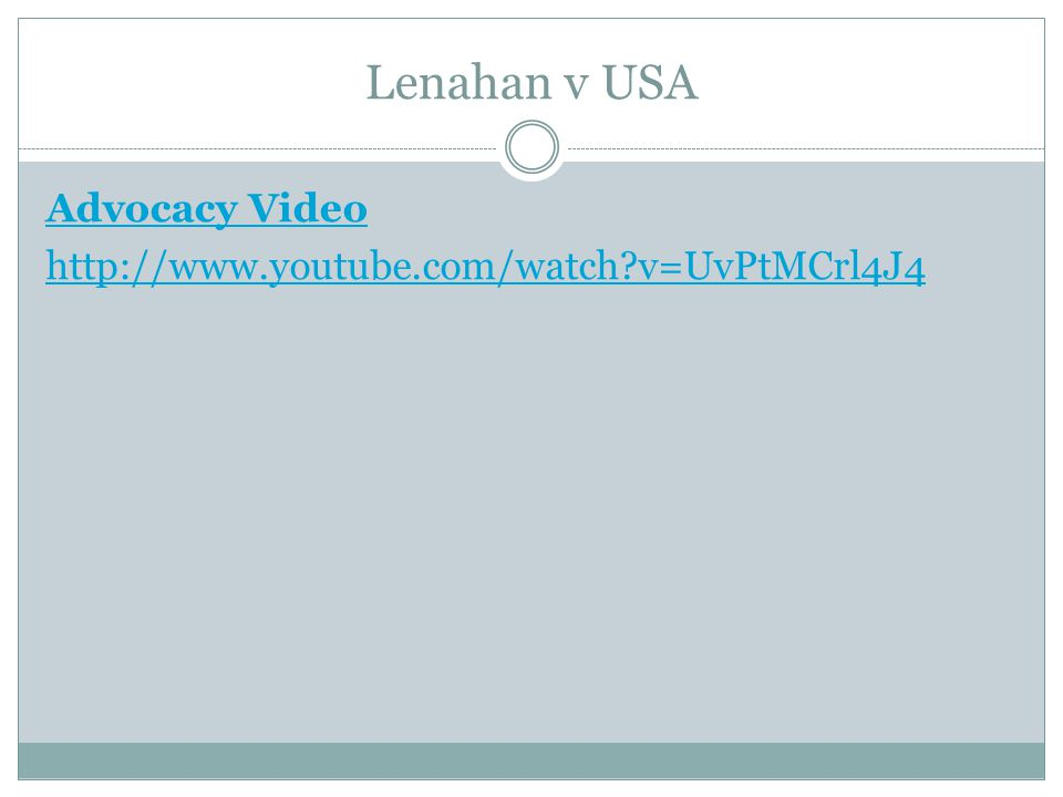 Lenahan v USA Advocacy Video http://www.youtube.com/watch?v=UvPtMCrl4J4