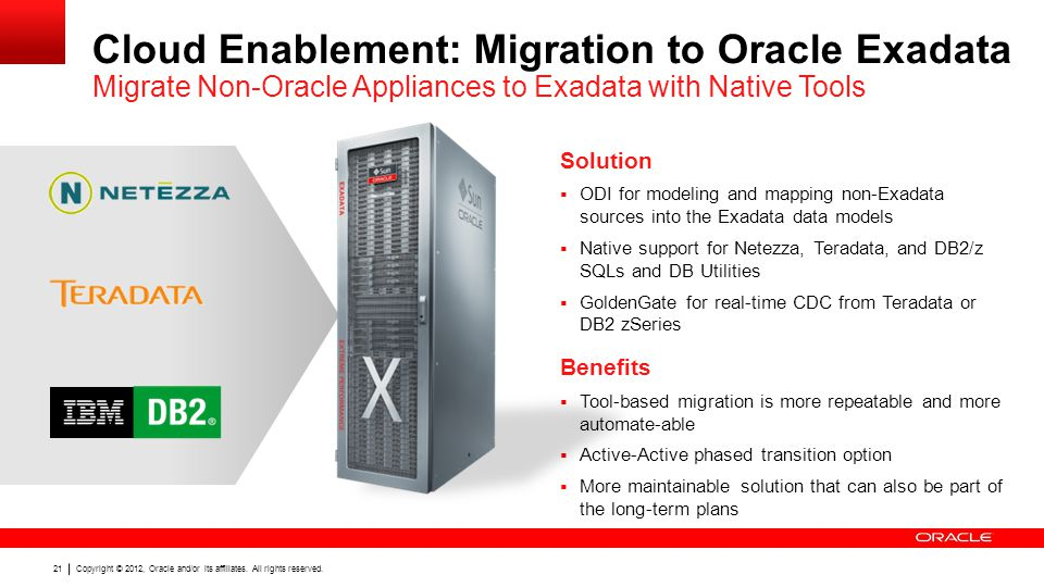 Copyright © 2012, Oracle and/or its affiliates. All rights reserved. 21 Cloud Enablement: Migration to Oracle Exadata Migrate Non-Oracle Appliances to