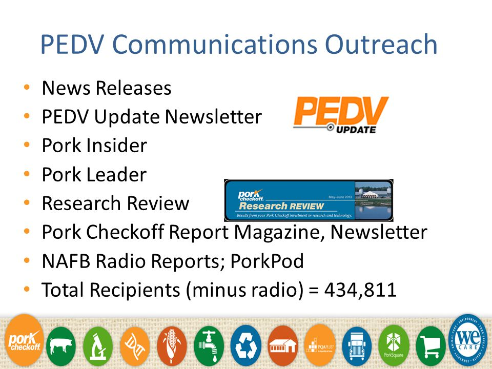 PEDV Research Information and updates on funded projects available at www.pork.org/PED www.pork.org/PED