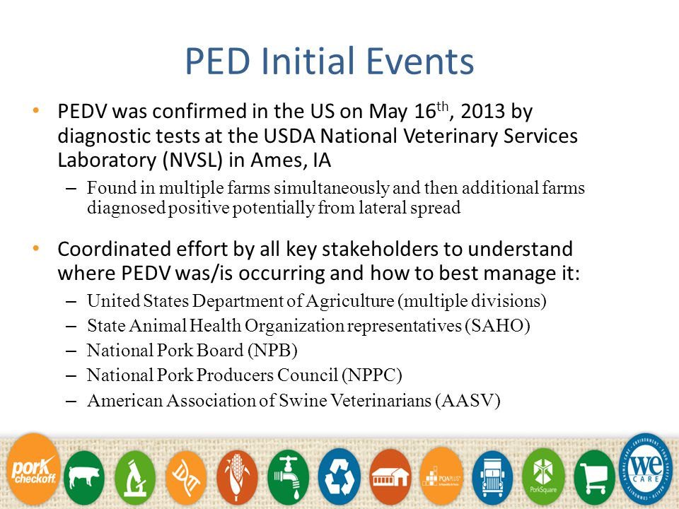 PED Initial Events PEDV was confirmed in the US on May 16 th, 2013 by diagnostic tests at the USDA National Veterinary Services Laboratory (NVSL) in Ames, IA – Found in multiple farms simultaneously and then additional farms diagnosed positive potentially from lateral spread Coordinated effort by all key stakeholders to understand where PEDV was/is occurring and how to best manage it: – United States Department of Agriculture (multiple divisions) – State Animal Health Organization representatives (SAHO) – National Pork Board (NPB) – National Pork Producers Council (NPPC) – American Association of Swine Veterinarians (AASV)