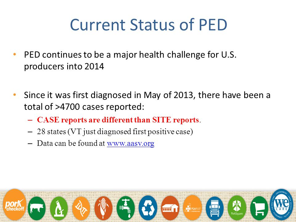 Current Status of PED PED continues to be a major health challenge for U.S.