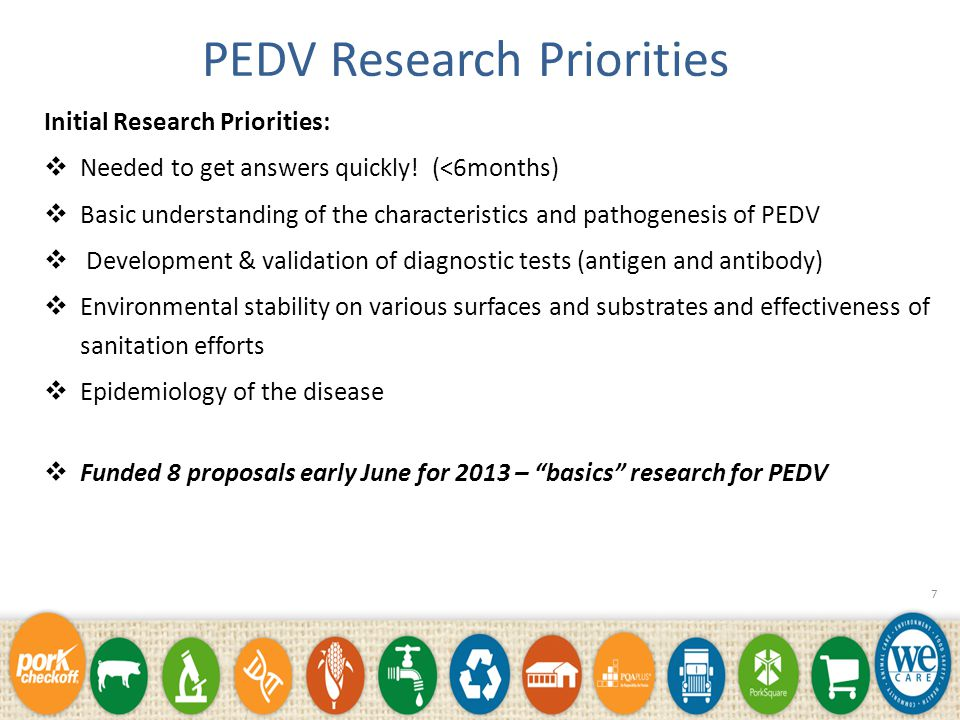 Development of Research Priorities *Swine Health Committee – producers, veterinarians, advisors (university, government, industry) PED Strategic Task Force Input from AASV and NPPC membership State Pork Associations input