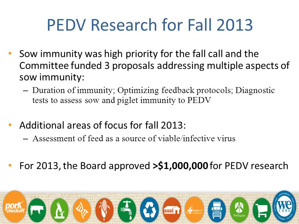 PEDV Research Priorities Initial Research Priorities: Needed to get answers quickly.