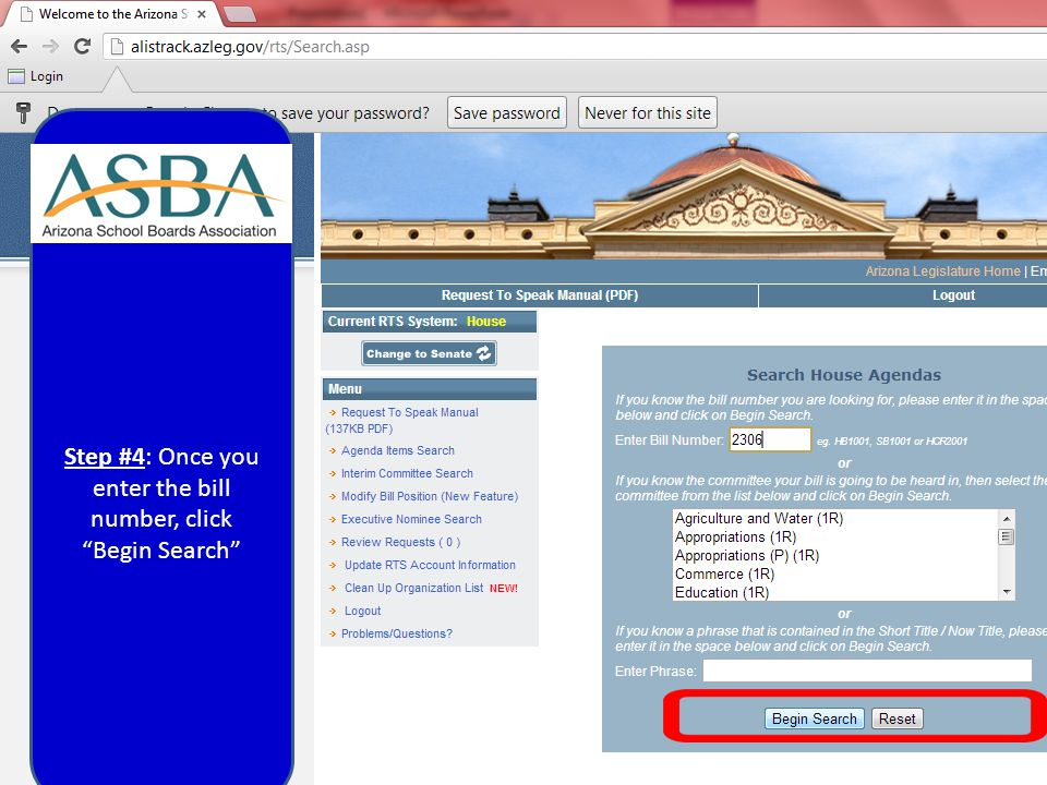 Step #4: Once you enter the bill number, click Begin Search