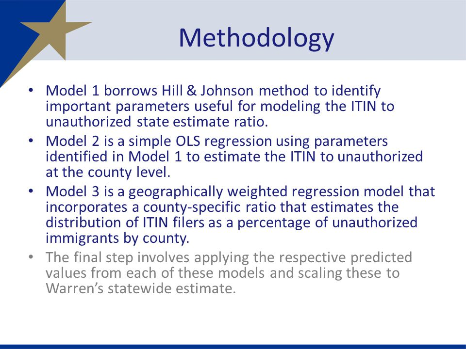 Model 1 borrows Hill & Johnson method to identify important parameters useful for modeling the ITIN to unauthorized state estimate ratio.