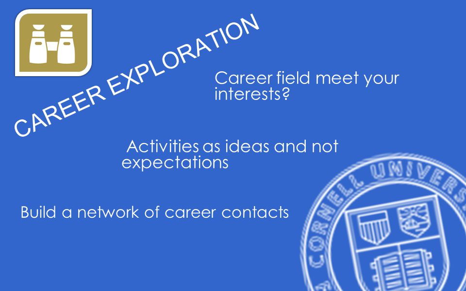 Career field meet your interests? Activities as ideas and not expectations CAREER EXPLORATION Build a network of career contacts