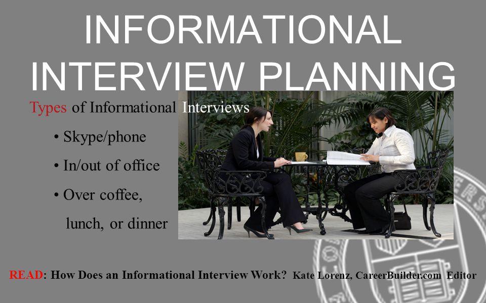 INFORMATIONAL INTERVIEW PLANNING Types of Informational Interviews Skype/phone In/out of office Over coffee, lunch, or dinner READ: How Does an Informational Interview Work.