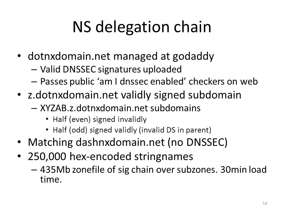 NS delegation chain dotnxdomain.net managed at godaddy – Valid DNSSEC signatures uploaded – Passes public am I dnssec enabled checkers on web z.dotnxdomain.net validly signed subdomain – XYZAB.z.dotnxdomain.net subdomains Half (even) signed invalidly Half (odd) signed validly (invalid DS in parent) Matching dashnxdomain.net (no DNSSEC) 250,000 hex-encoded stringnames – 435Mb zonefile of sig chain over subzones.