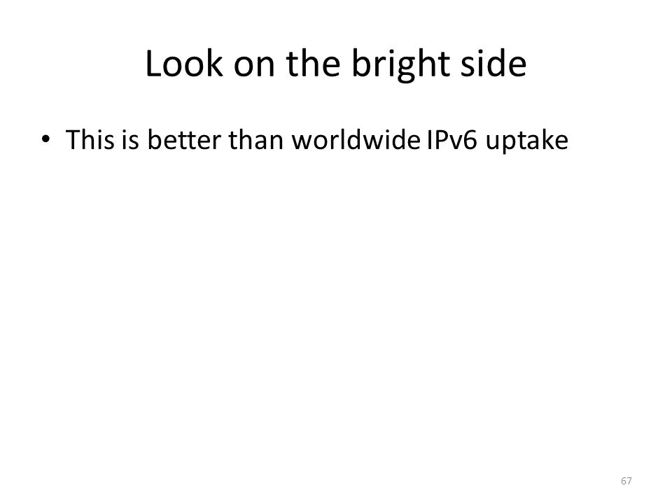 Look on the bright side This is better than worldwide IPv6 uptake 67