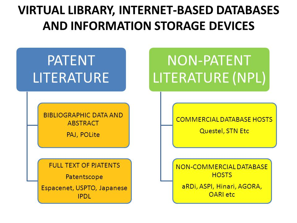 VIRTUAL LIBRARY, INTERNET-BASED DATABASES AND INFORMATION STORAGE DEVICES
