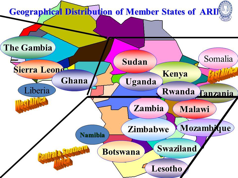 Geographical Distribution of Member States of ARIPO Botswana Kenya Mozambique Somalia The Gambia Lesotho Sierra Leone Swaziland Tanzania Ghana Zimbabw