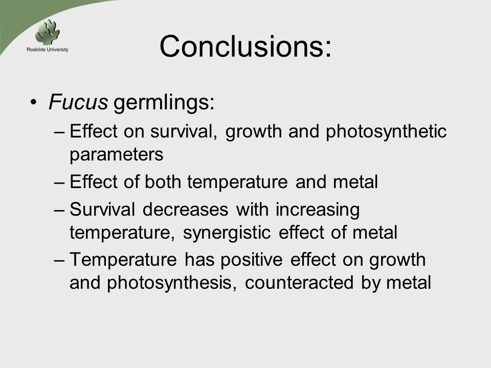 Conclusions: Fucus germlings: –Effect on survival, growth and photosynthetic parameters –Effect of both temperature and metal –Survival decreases with increasing temperature, synergistic effect of metal –Temperature has positive effect on growth and photosynthesis, counteracted by metal