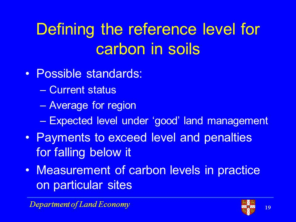 Defining the reference level for carbon in soils Possible standards: –Current status –Average for region –Expected level under good land management Payments to exceed level and penalties for falling below it Measurement of carbon levels in practice on particular sites 19 Department of Land Economy