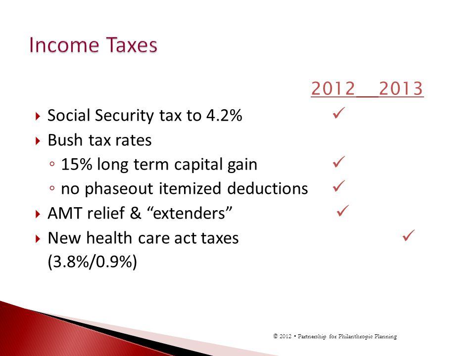 2012 2013 Social Security tax to 4.2% Bush tax rates 15% long term capital gain no phaseout itemized deductions AMT relief & extenders New health care act taxes (3.8%/0.9%) © 2012 Partnership for Philanthropic Planning