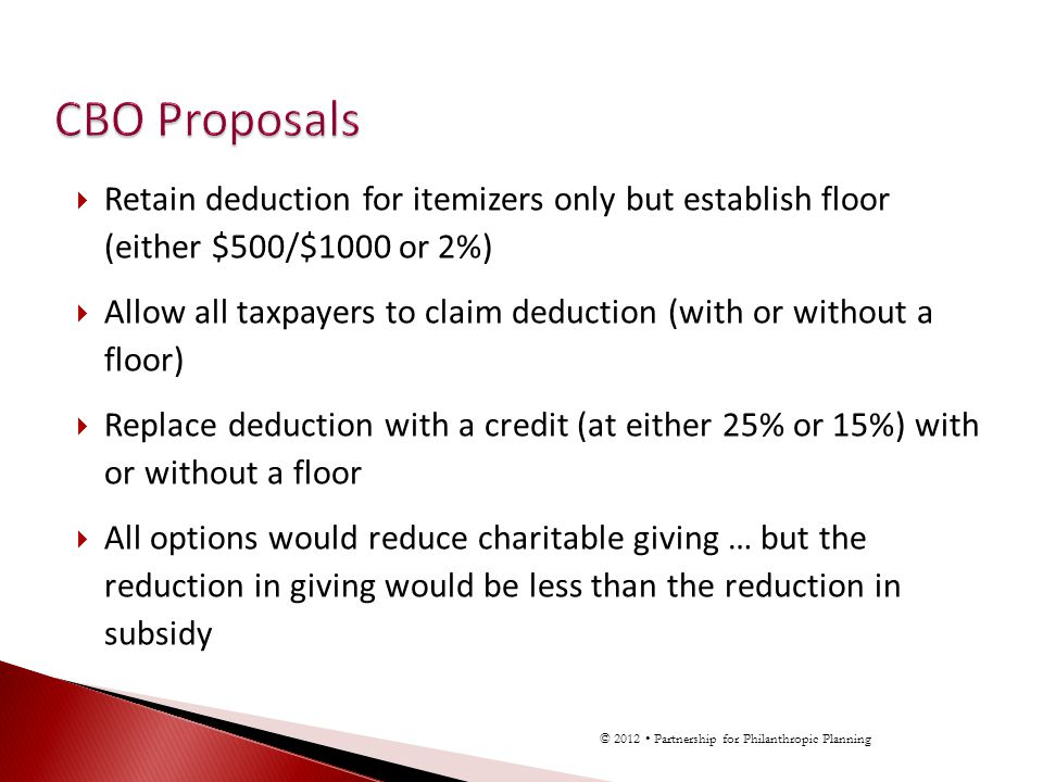 Retain deduction for itemizers only but establish floor (either $500/$1000 or 2%) Allow all taxpayers to claim deduction (with or without a floor) Replace deduction with a credit (at either 25% or 15%) with or without a floor All options would reduce charitable giving … but the reduction in giving would be less than the reduction in subsidy © 2012 Partnership for Philanthropic Planning