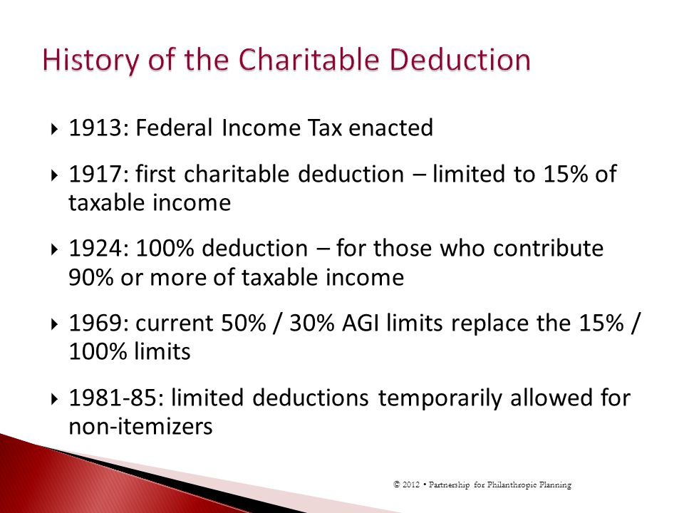 1913: Federal Income Tax enacted 1917: first charitable deduction – limited to 15% of taxable income 1924: 100% deduction – for those who contribute 90% or more of taxable income 1969: current 50% / 30% AGI limits replace the 15% / 100% limits 1981-85: limited deductions temporarily allowed for non-itemizers © 2012 Partnership for Philanthropic Planning