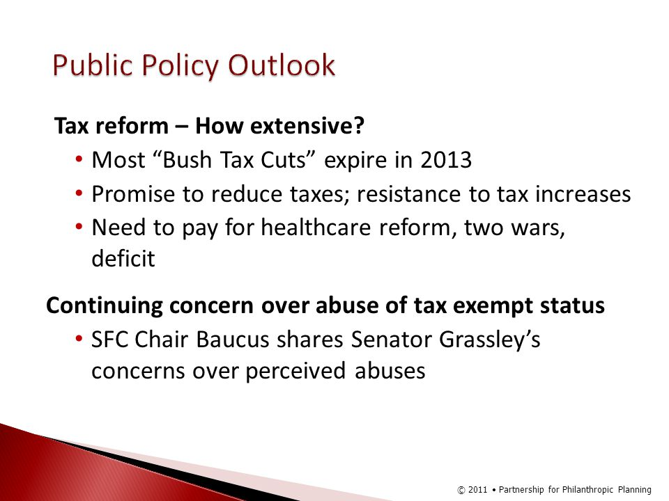 Public Policy Outlook Tax reform – How extensive.