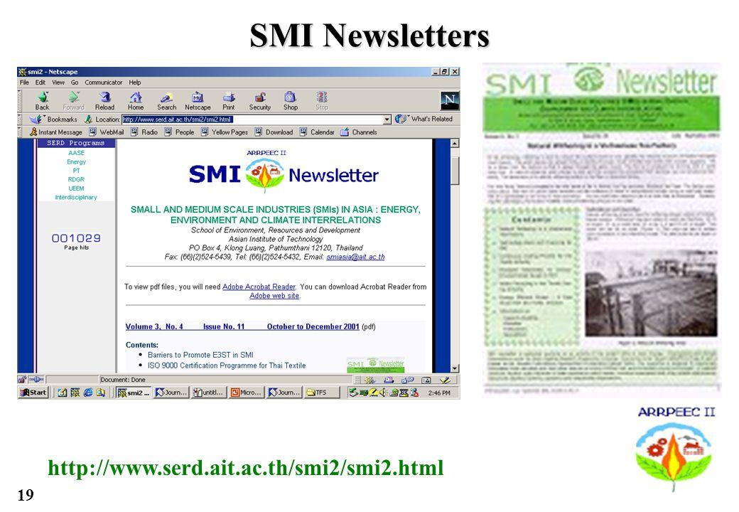 19 SMI Newsletters http://www.serd.ait.ac.th/smi2/smi2.html