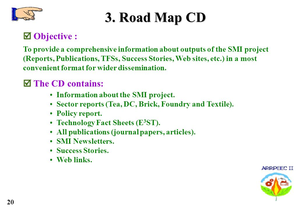 20 3. Road Map CD Objective : To provide a comprehensive information about outputs of the SMI project (Reports, Publications, TFSs, Success Stories, W