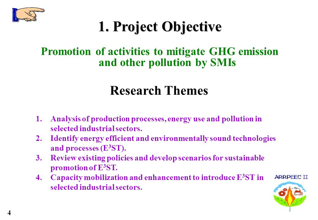 4 Research Themes 1.Analysis of production processes, energy use and pollution in selected industrial sectors.