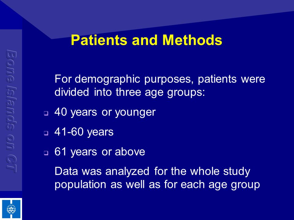 Patients and Methods For demographic purposes, patients were divided into three age groups: 40 years or younger 41-60 years 61 years or above Data was