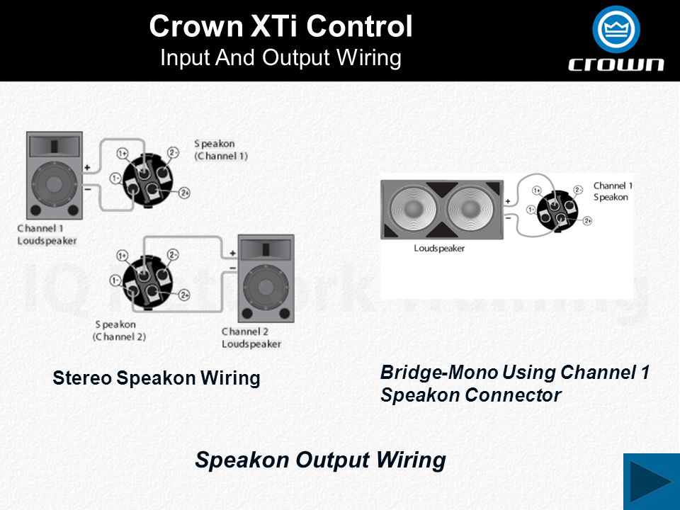 Crown XTi Control Input And Output Wiring Stereo Speakon Wiring Bridge-Mono Using Channel 1 Speakon Connector Speakon Output Wiring