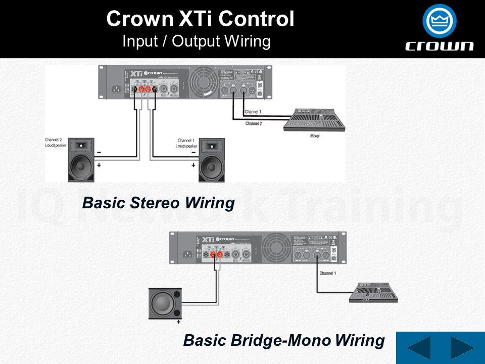 Crown XTi Control Input / Output Wiring Basic Stereo Wiring Basic Bridge-Mono Wiring