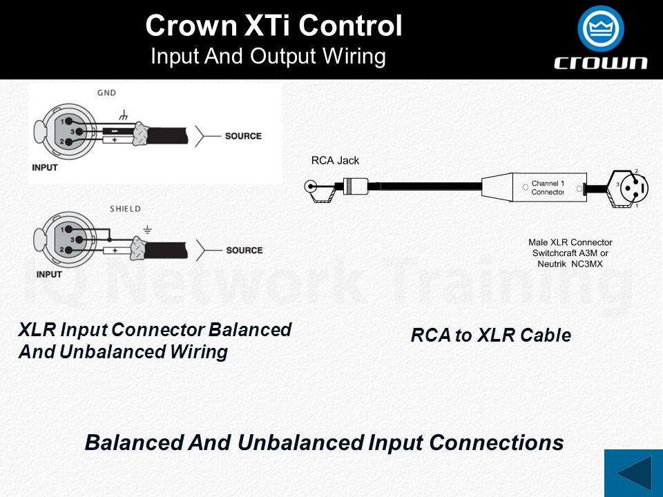 Crown XTi Control Input And Output Wiring XLR Input Connector Balanced And Unbalanced Wiring Balanced And Unbalanced Input Connections RCA to XLR Cabl