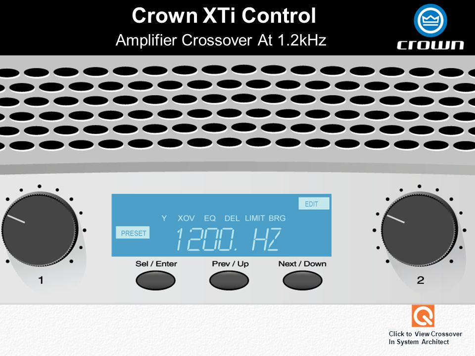 Click to edit Master title style Crown XTi Control Amplifier Crossover At 1.2kHz Click to View Crossover In System Architect