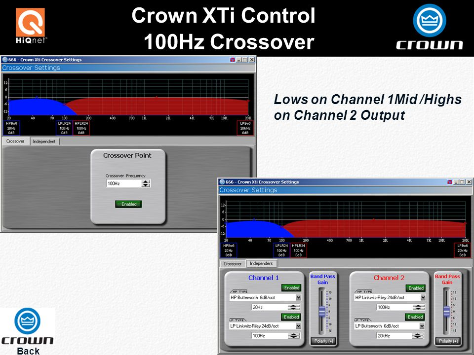 100Hz Crossover Back Crown XTi Control Lows on Channel 1Mid /Highs on Channel 2 Output