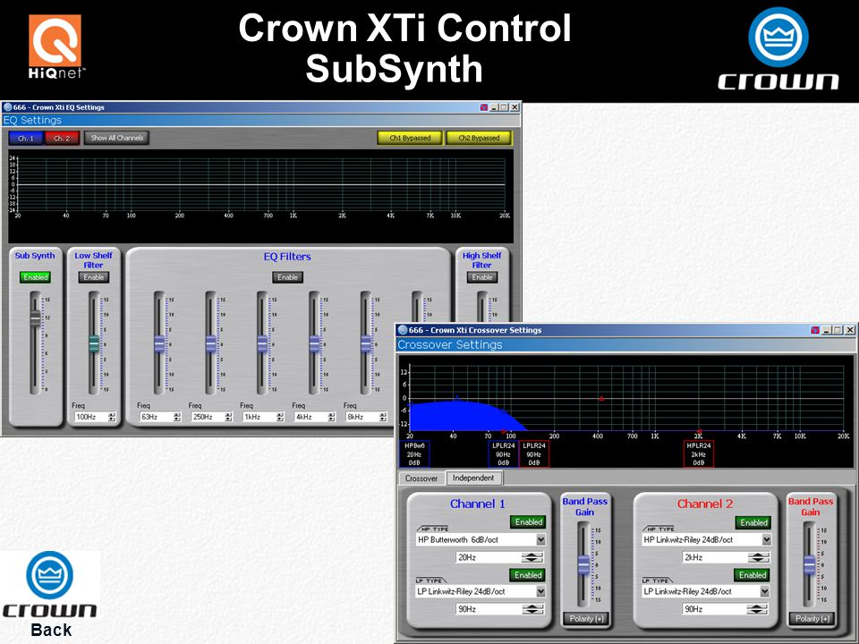 Back Crown XTi Control SubSynth