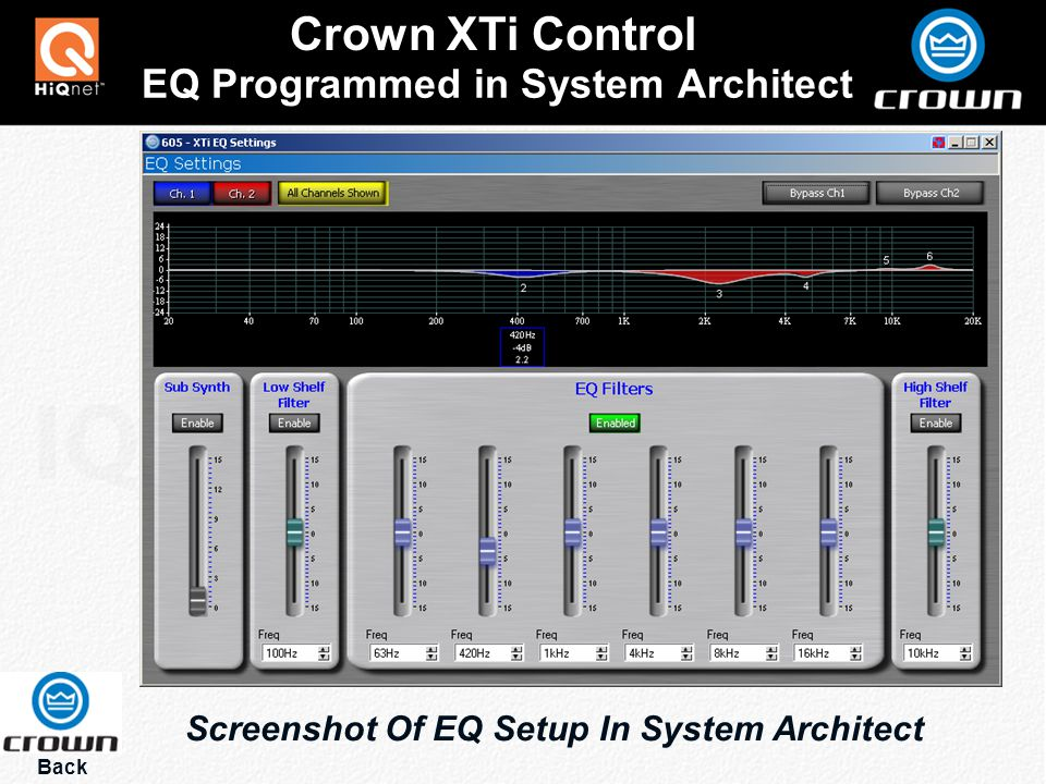 EQ Programmed in System Architect Crown XTi Control Back Screenshot Of EQ Setup In System Architect