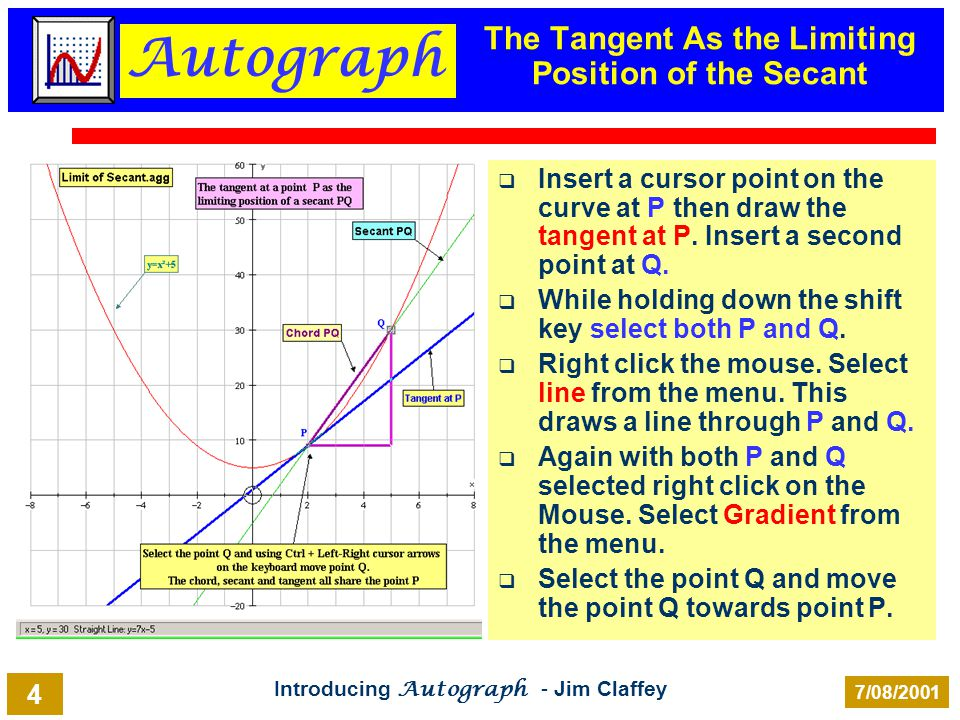 Autograph Introducing Autograph - Jim Claffey 7/08/2001 4 The Tangent As the Limiting Position of the Secant Insert a cursor point on the curve at P t