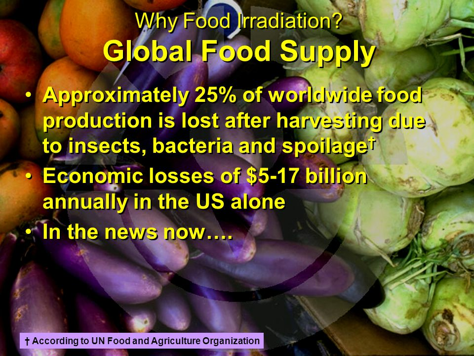 Why Food Irradiation? Global Food Supply Approximately 25% of worldwide food production is lost after harvesting due to insects, bacteria and spoilage