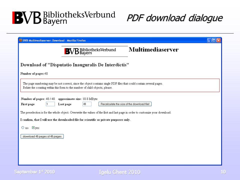 September 1 st 2010 Igelu Ghent 2010 10 PDF download dialogue