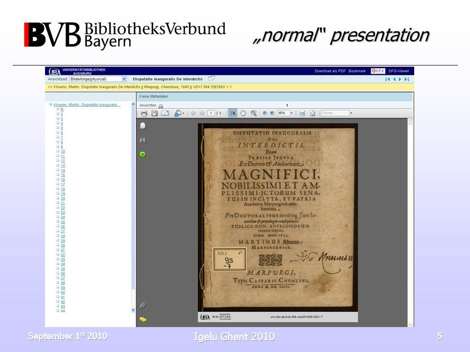 September 1 st 2010 Igelu Ghent 2010 5 normal presentation