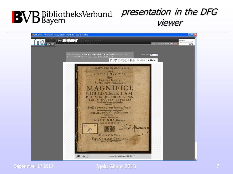 September 1 st 2010 Igelu Ghent 2010 7 presentation in the DFG viewer