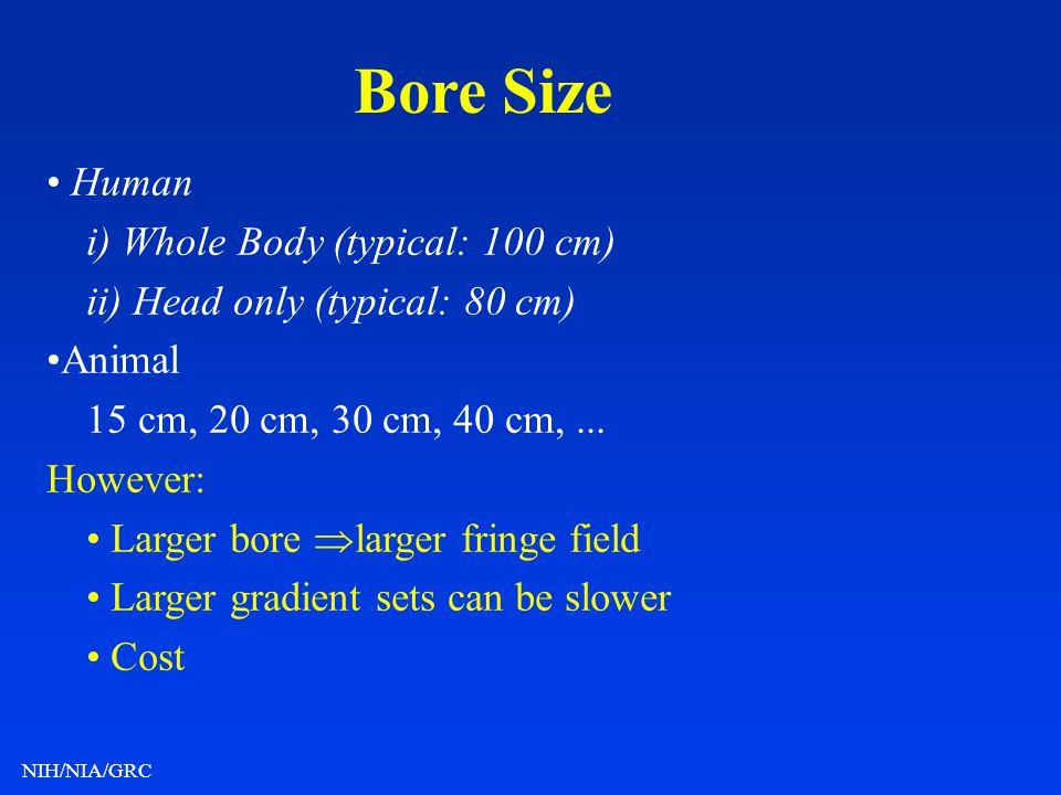 NIH/NIA/GRC Bore Size Human i) Whole Body (typical: 100 cm) ii) Head only (typical: 80 cm) Animal 15 cm, 20 cm, 30 cm, 40 cm,... However: Larger bore