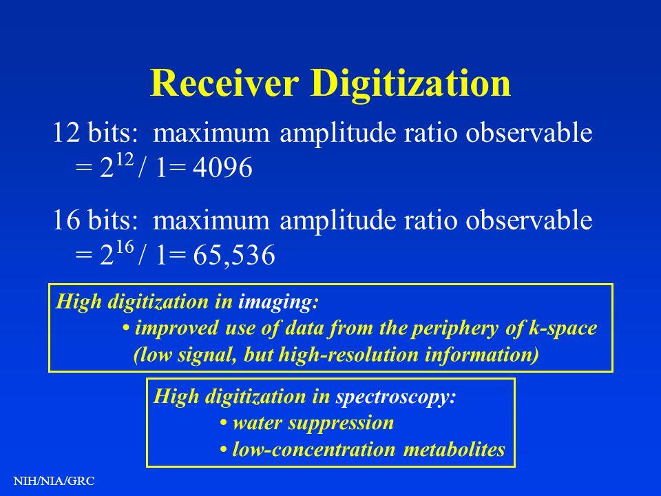 NIH/NIA/GRC Receiver Digitization 12 bits: maximum amplitude ratio observable = 2 12 / 1= 4096 16 bits: maximum amplitude ratio observable = 2 16 / 1=