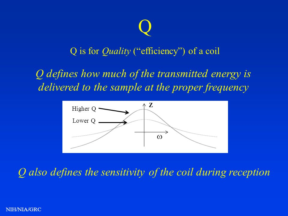 NIH/NIA/GRC Q Q is for Quality (efficiency) of a coil Q defines how much of the transmitted energy is delivered to the sample at the proper frequency