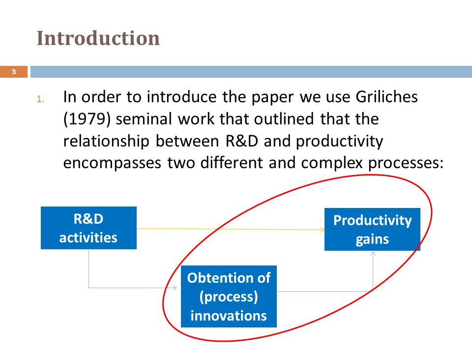 Introduction 1. In order to introduce the paper we use Griliches (1979) seminal work that outlined that the relationship between R&D and productivity