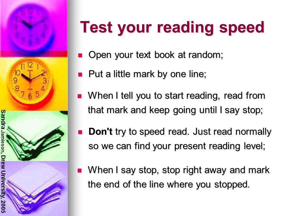 Reading for college First, lets talk about reading speed This is not about trying to read as FAST as you can...... It is about learning to read as eff