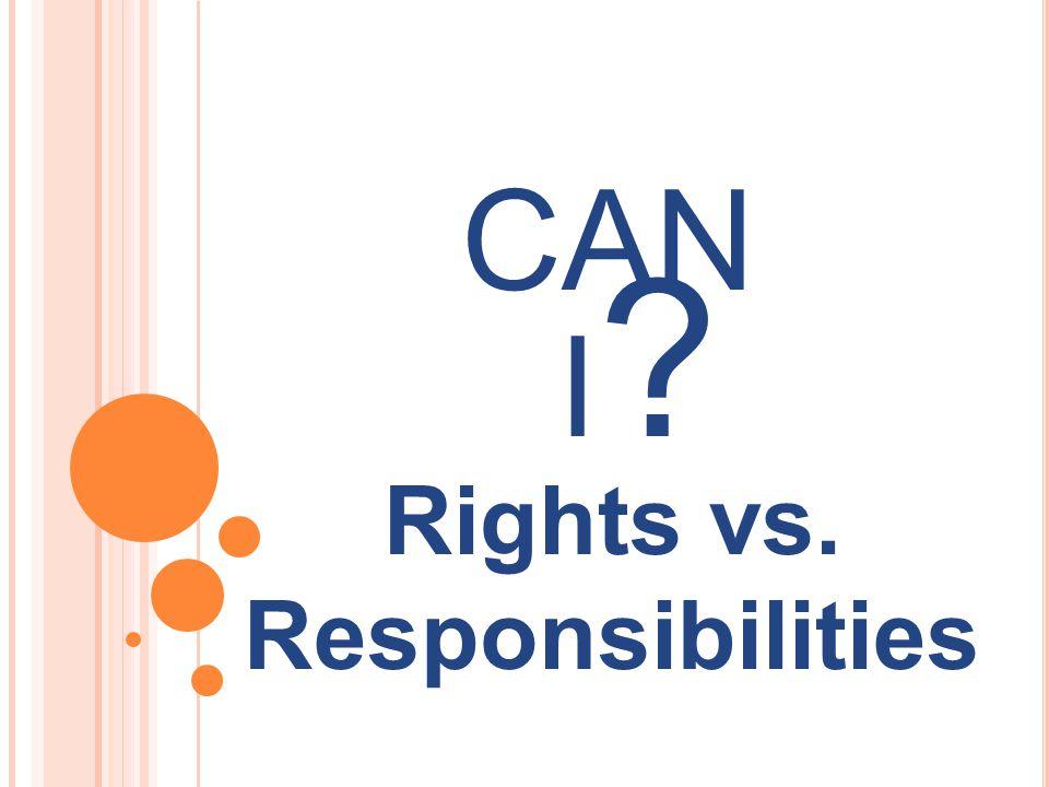 Rights vs. Responsibilities CAN I?I?