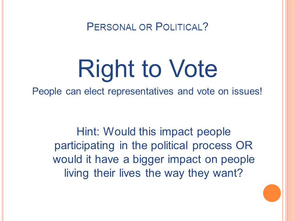 Right to Vote People can elect representatives and vote on issues.