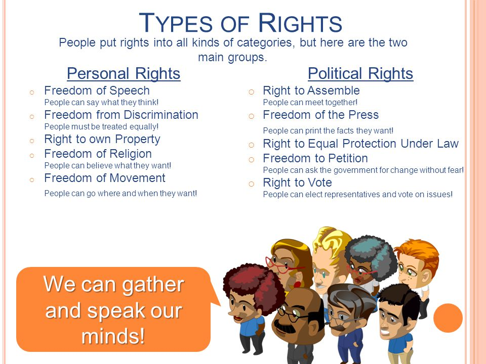 T YPES OF R IGHTS People put rights into all kinds of categories, but here are the two main groups.