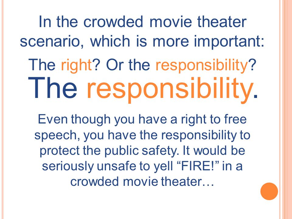 In the crowded movie theater scenario, which is more important: The right? Or the responsibility? The responsibility. Even though you have a right to