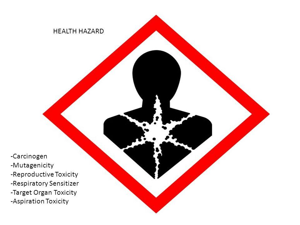 HEALTH HAZARD -Carcinogen -Mutagenicity -Reproductive Toxicity -Respiratory Sensitizer -Target Organ Toxicity -Aspiration Toxicity